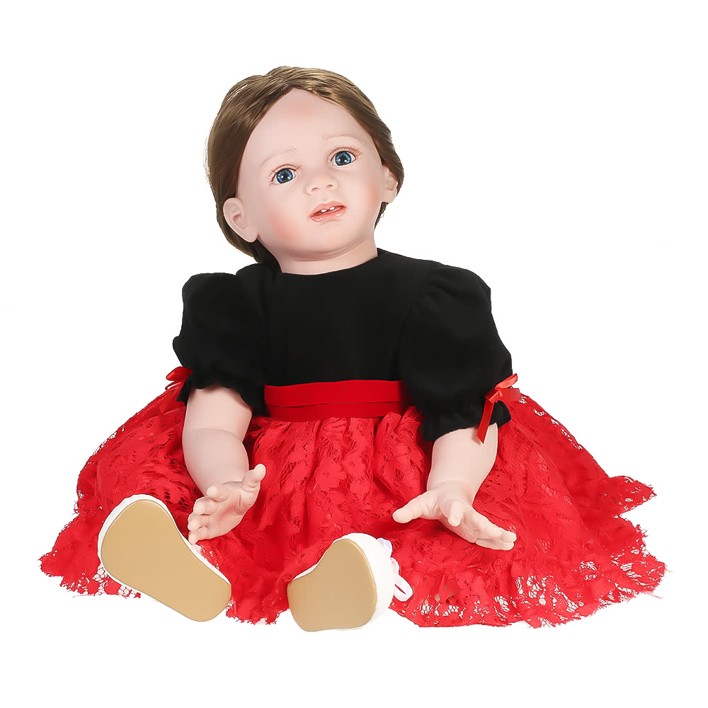 Silicon Baby Doll Baby Girl Doll With Long Brown Hair Clothes Wig Soft Silicone Vinyl Baby Doll Boneca 23inch 60cm Lifelike Cute Girl Gifts Toy