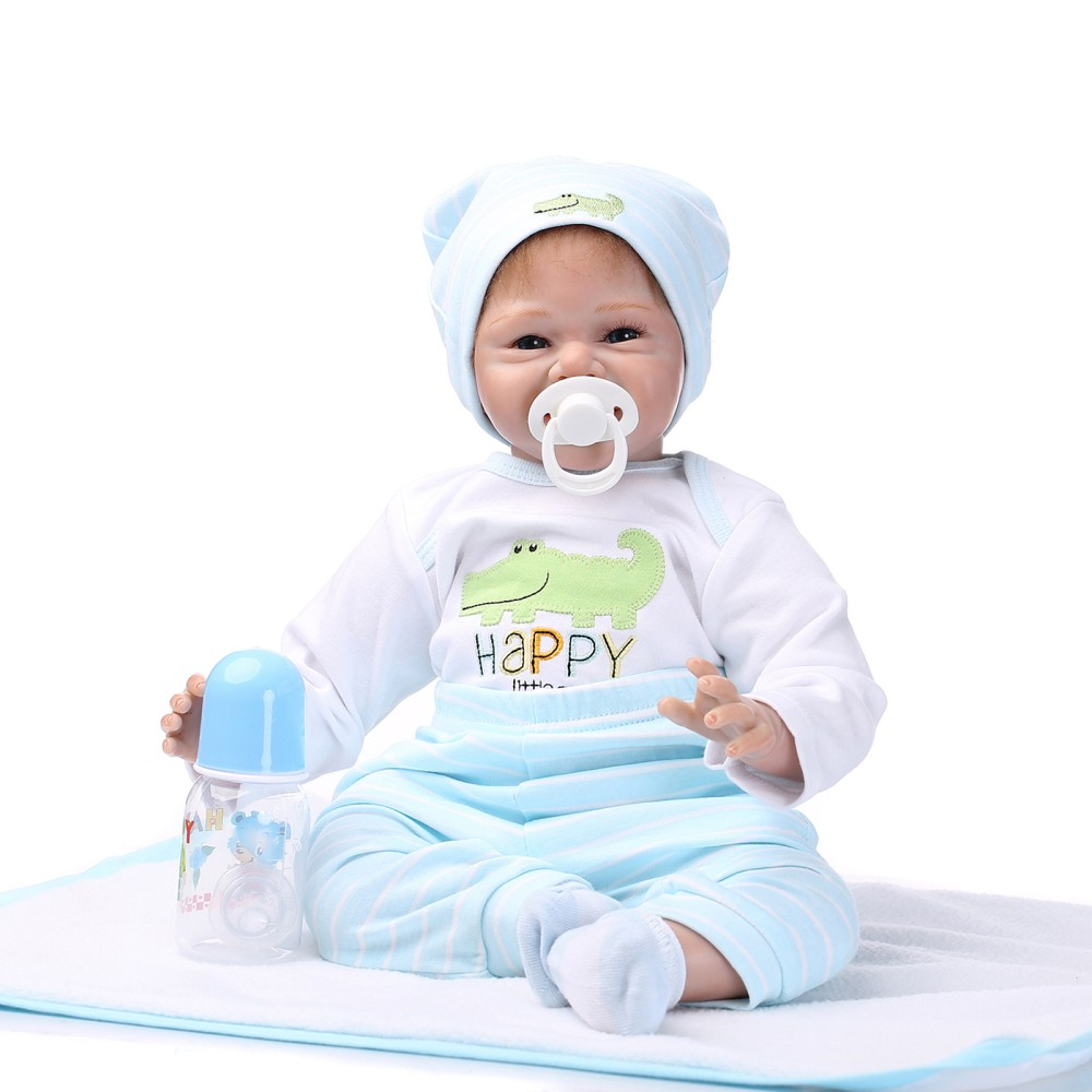 22inch 55cm Reborn Toddler Baby Doll Boy Smiling Baby Doll Silicone Body Boneca With Clothes Lifelike Cute Gifts Toy