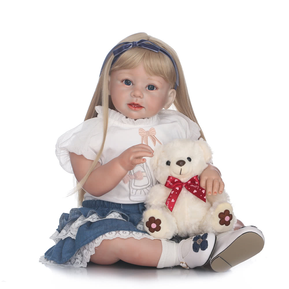 Silicon Reborn Toddler Doll Baby Doll Girl With Curly Golden Hair Clothes Wig Boneca 28inch 71cm Lifelike Cute Gifts Toy