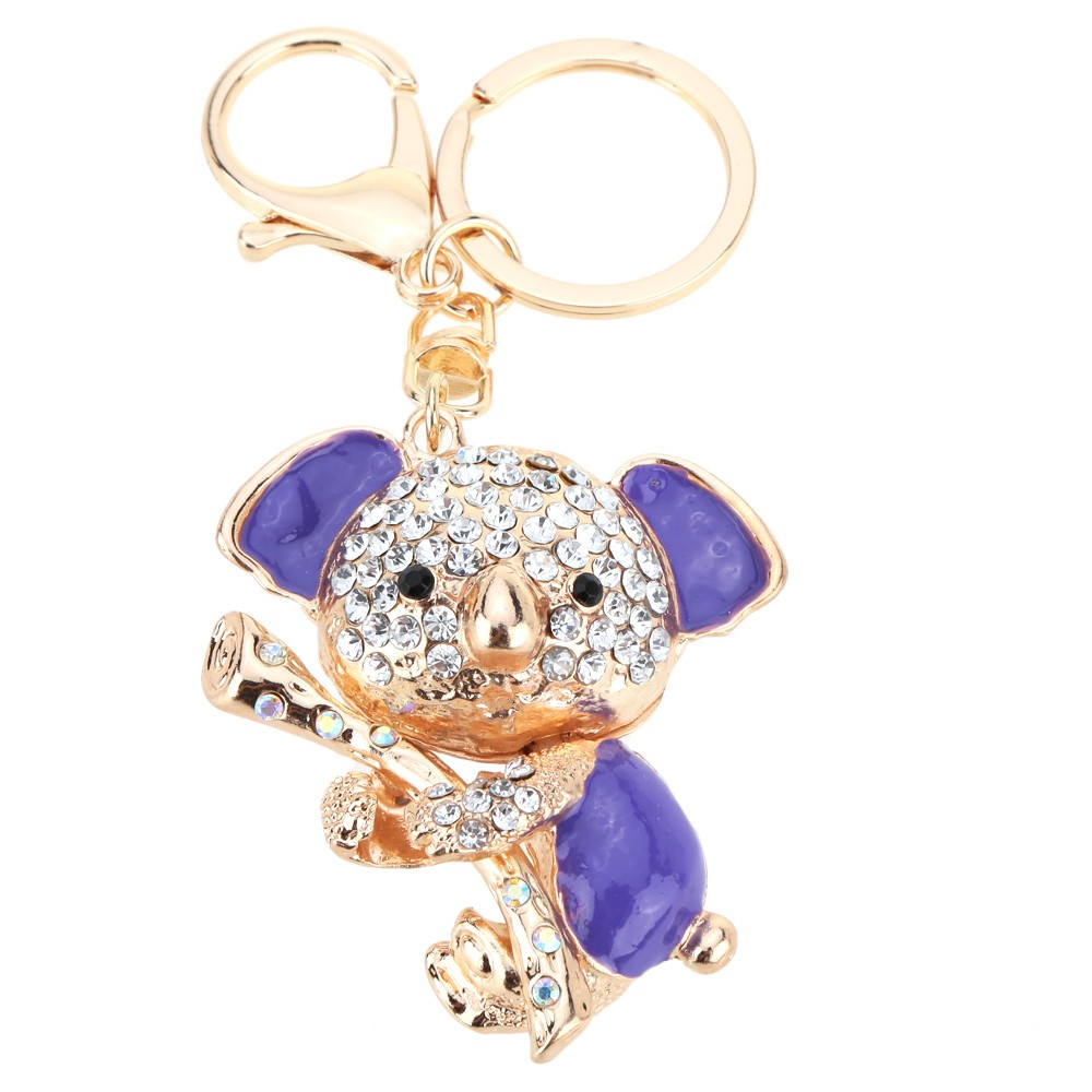 Fashional Jewelry Hollow Shinning Rhinestone Aureate Koala Pendant Key Ring Key Chain