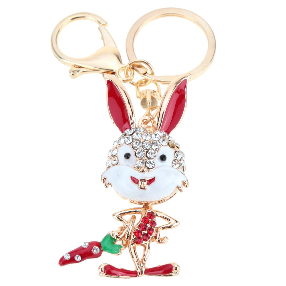Fashional Jewelry Hollow Shinning Rhinestone Aureate Rabbit Pendant Key Ring Key Chain
