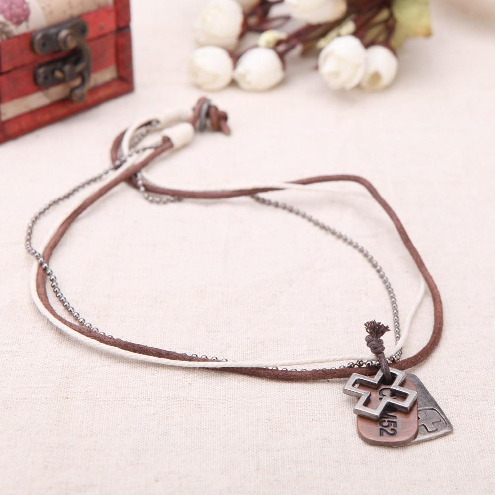 Fashion Punk Vintage Retro Cross Rectangle Pendants Leather Collar Necklace Jewelry Accessory