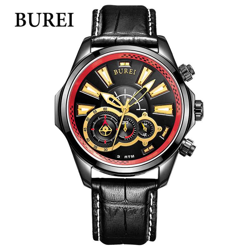 BUREI Luxury Watch Men Quartz Wrist-watch Sapphire Wristwatch 3ATM Waterproof Sport Chronograph Watches