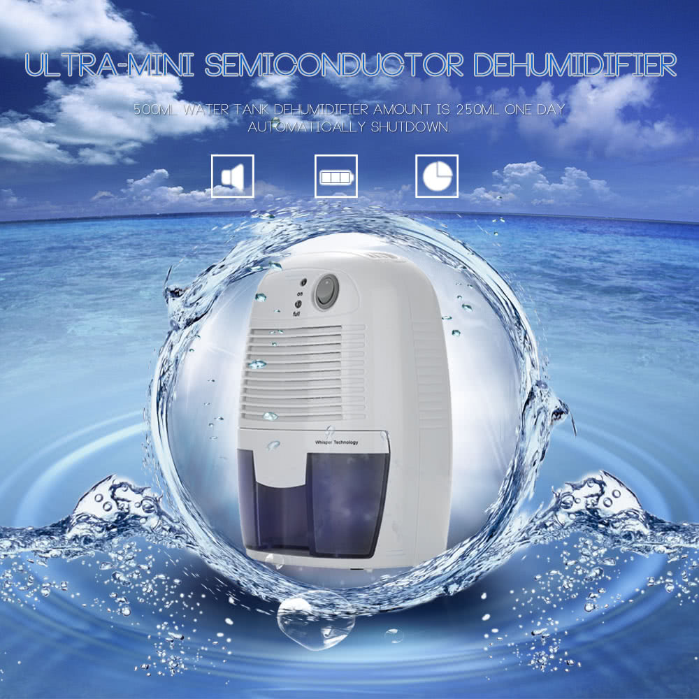 XRow-600A Ultra-mini Semiconductor Dehumidifier Desiccant Moisture Absorbing Air Dryer with Ultra-quiet Peltier Technology Thermo-electric Cooling for Wardrobe EU Plug