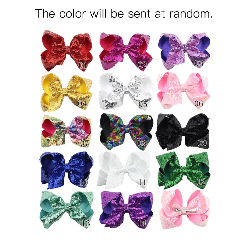 Children Cute Hairpin Girl Lovely Bowknot Hair Accessories Bling Sparkly Glitter Hair Bows Clip