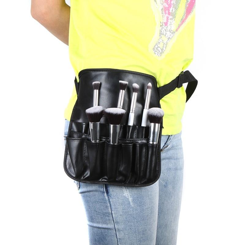 PVC Cosmetic Makeup Brush Apron with Artist Belt Strap Professional Bag