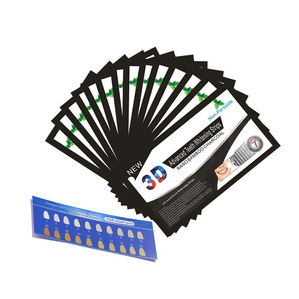 14 Bags/Box Dental White Teeth Whitener Whitestrips 3D Advanced Teeth Whitening Strips Activated Charcoal Oral Hygiene
