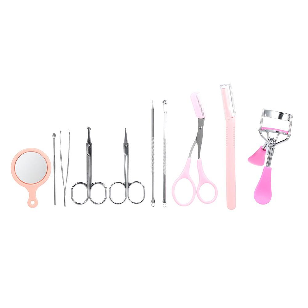 10pcs/set Eyebrow Tools Kit Tweezers Trimmer Scissors Razor Eyelash Curler Mirror Earpick Acne Pin Extractor