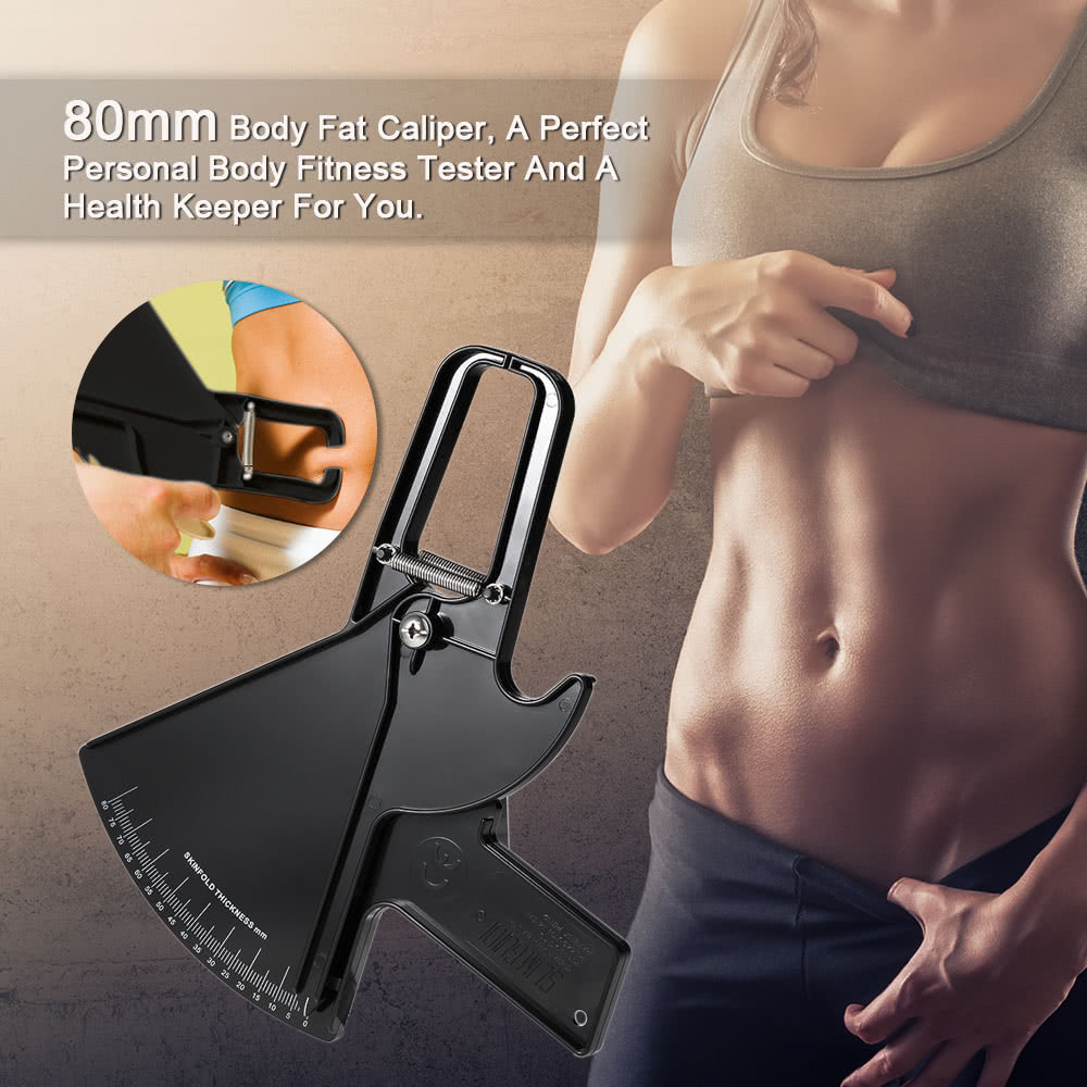 80mm Body Fat Caliper Skinfold Measurement Tool Personal Body Fitness Tester Beauty Health Keeper