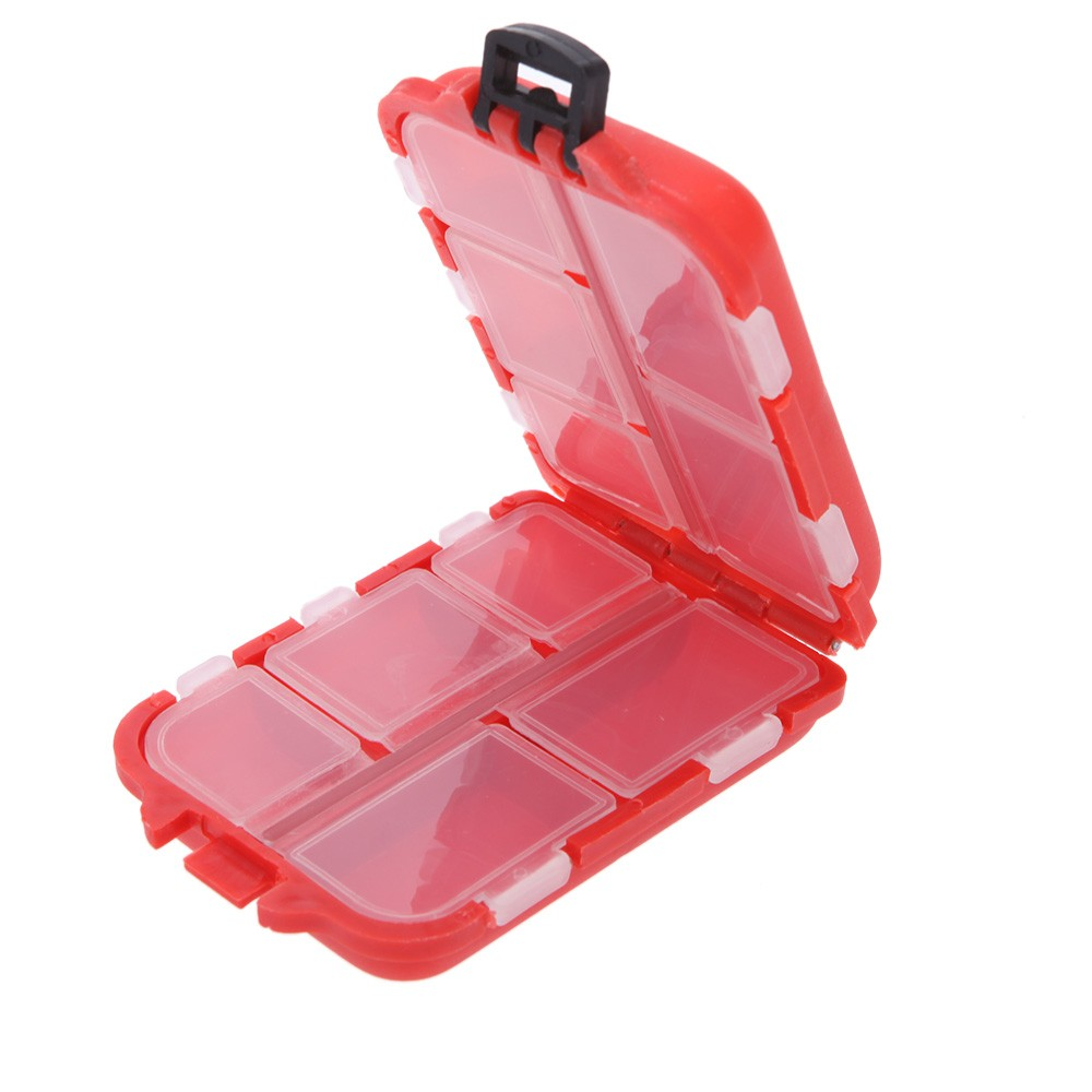 Fishing Tackle Box 10 Compartments Small Size for Fishing Hooks Swivels Beads etc Red