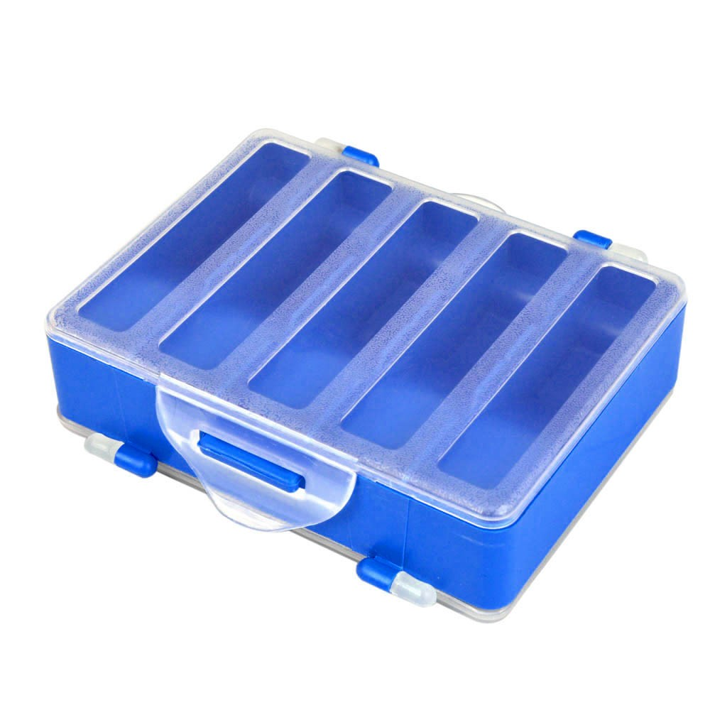 12.8 * 10 * 3.7cm Double Sided Transparent Visible Plastic Fishing Explosion Hook Set Box 10 Compartments