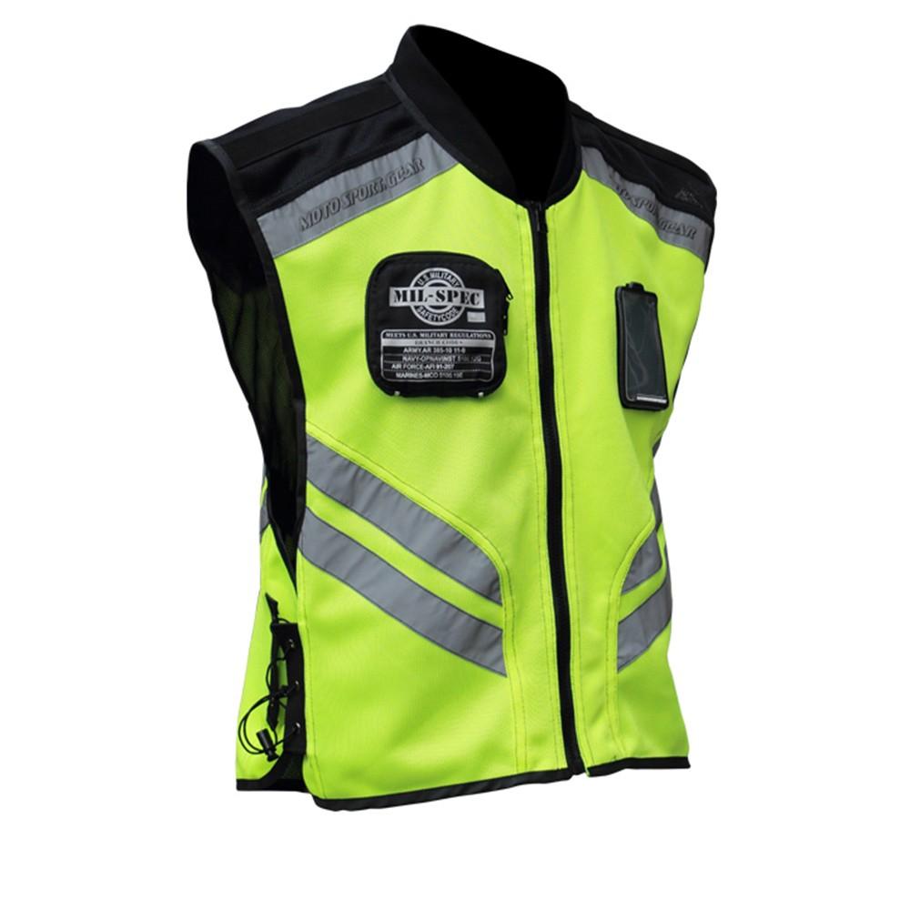 Sports Motorcycle Reflective Vest High Visibility Fluorescent Riding Safety Vest Racing Sleeveless Jacket Moto Gear (XXL)