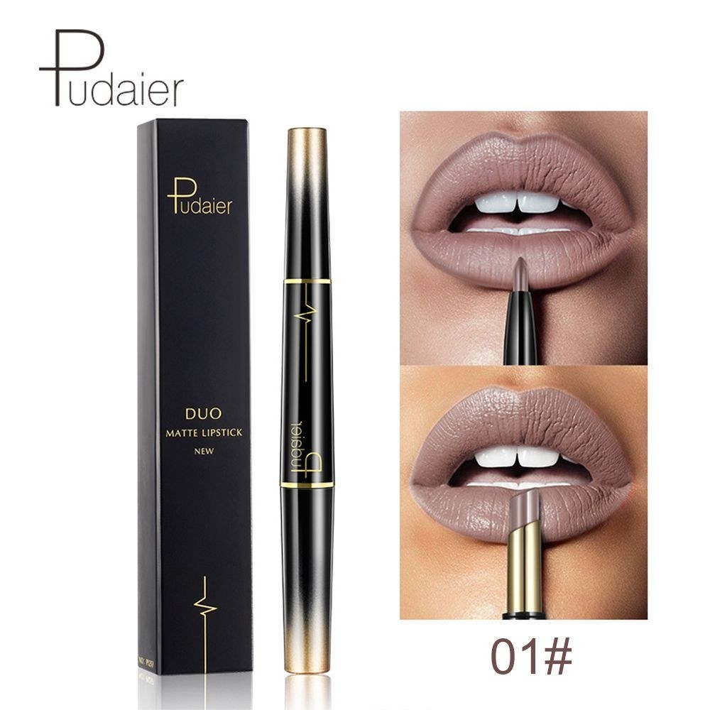 Pudaier 2 in 1 16 Color New Double Ended Sexy Lasting Matte Lipstick Waterproof Lipliner Lipstick Pencil