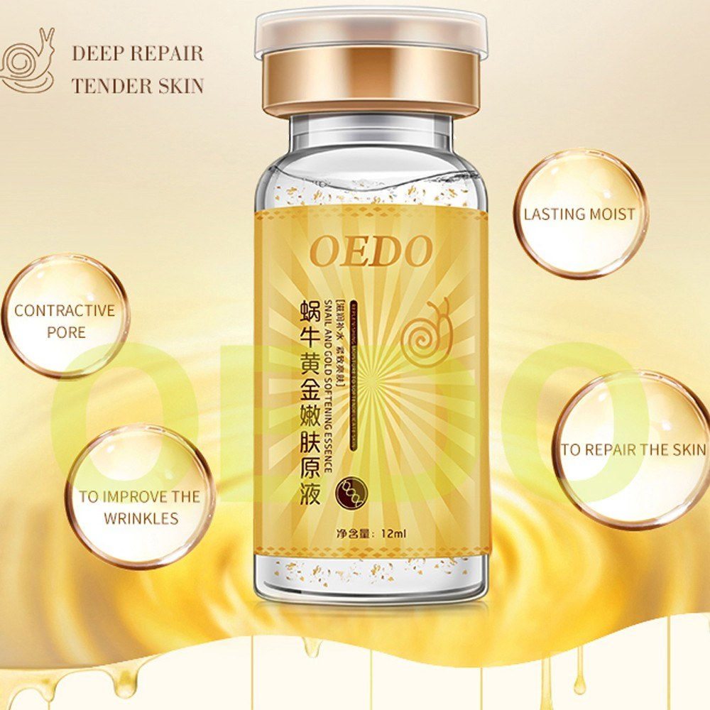 OEDO Anti-aging Snail and Gold Essence Hydrating Hyaluronic Acid Moisturizers Treatment Face Care Facial Cream Serum Snail Pure Extract