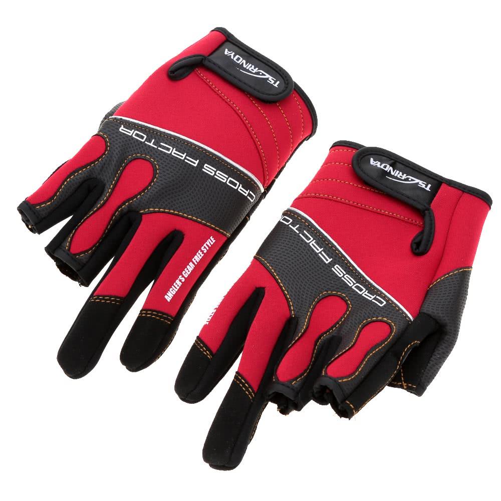 Trulinoya Outdoor Sports Breathable Anti-slip 3 Low-Cut Fingers Fishing Gloves