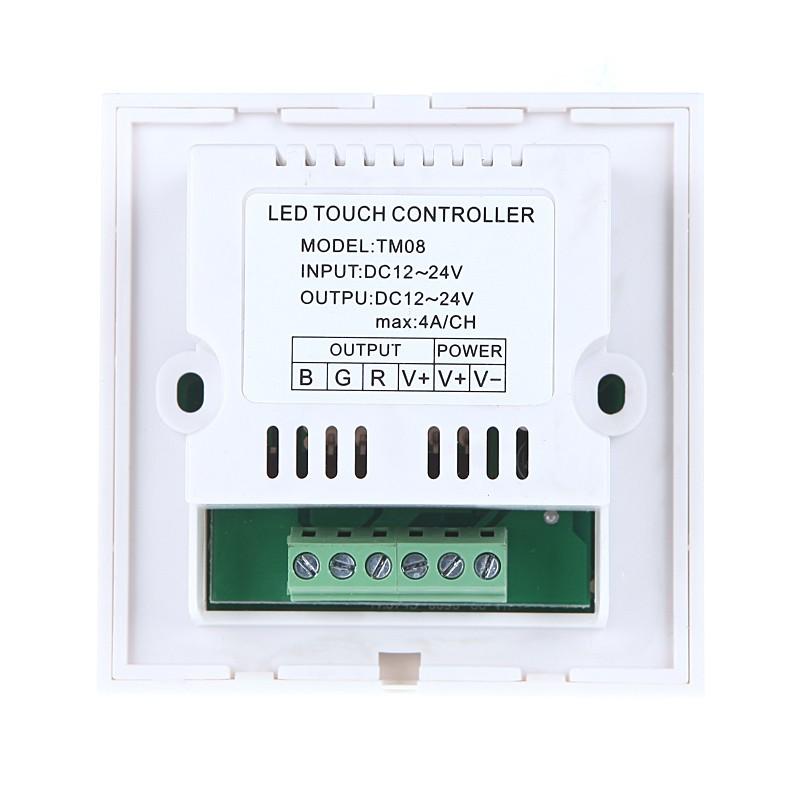 Touch Panel LED Dimmer Controller for 5050/3528 RGB LED Strip Light 12-24V White