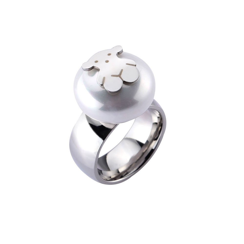 Little Bear Ring Vacuum Plating Artificial Pearl Titanium Steel Fashionable Women Jewelry Decorations