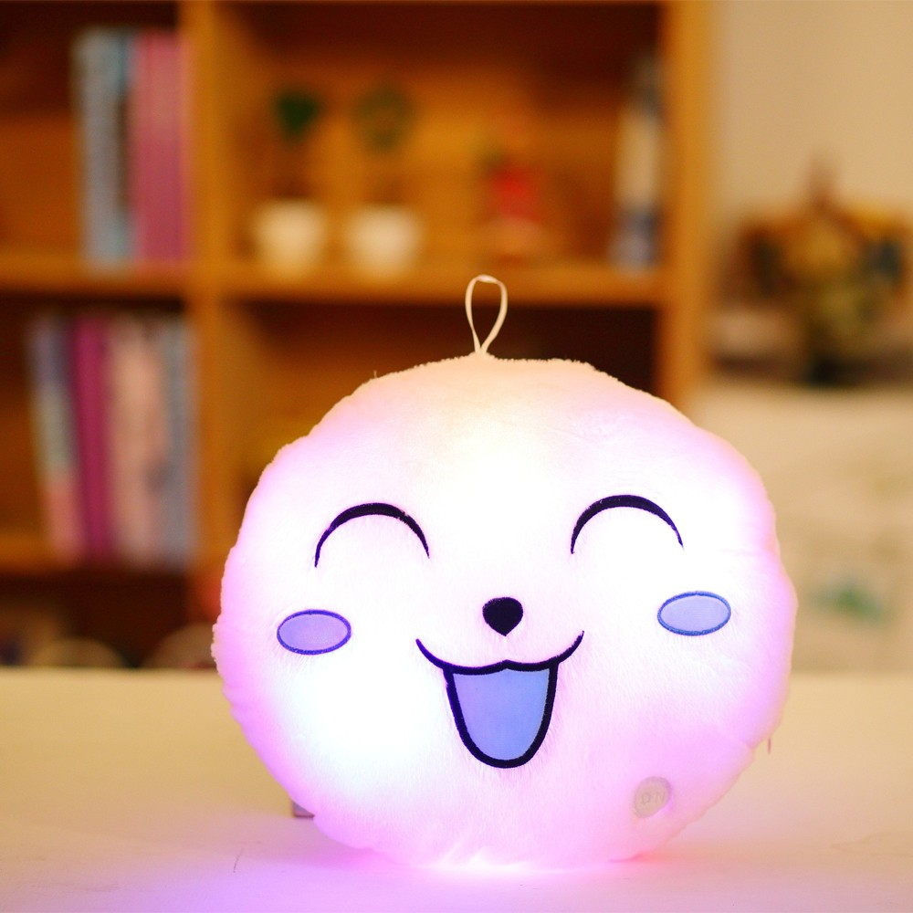 Luminous Soft LED Colorful Sweet Round Smiling Face Stuffed Plush Toy Night light Pillow Cushion Decorative Emoji Pillows White Style 1