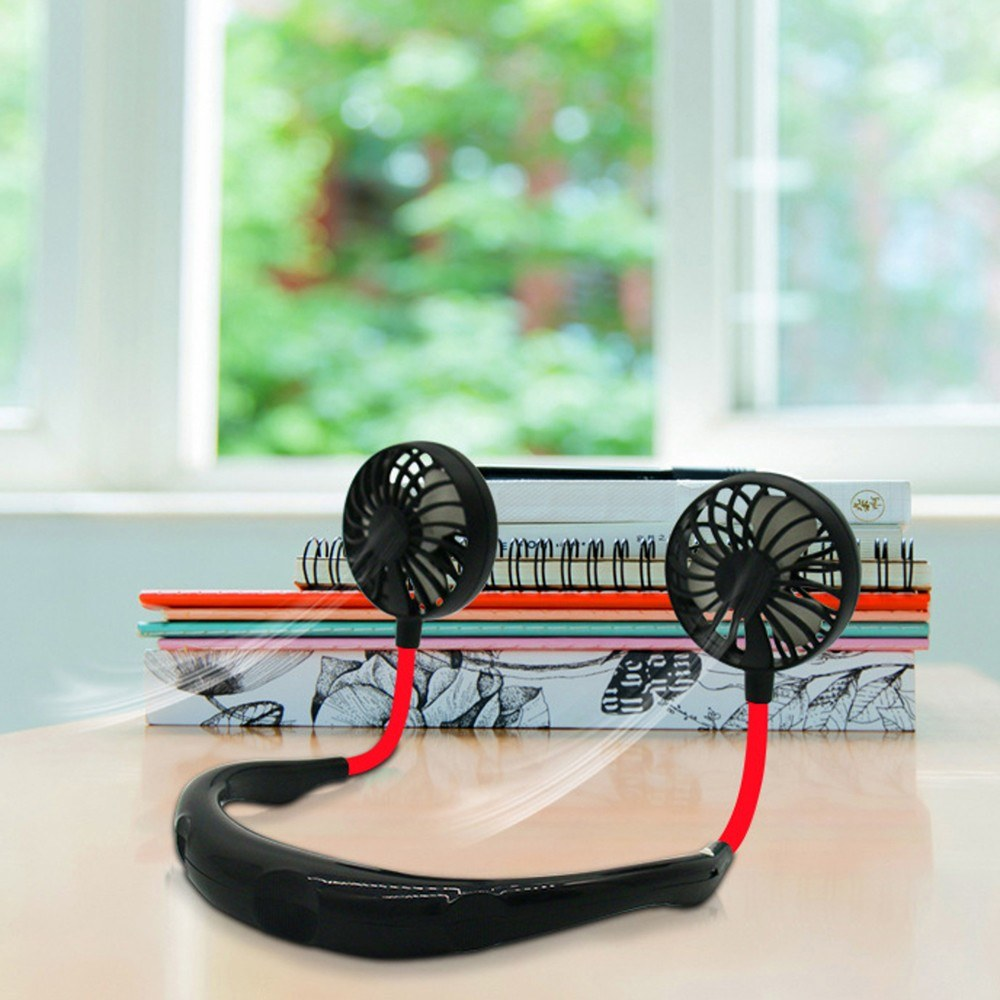 2019 summer explosion models hanging neck fan lazy outdoor sports portable USB charging mini fan black English packaging