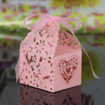 20 PCS Laser Cut Delicate Carved Flower Elegant Candy Boxes with Ribbon for Party Birthday Wedding Banquet Kindergarten Bridal Shower