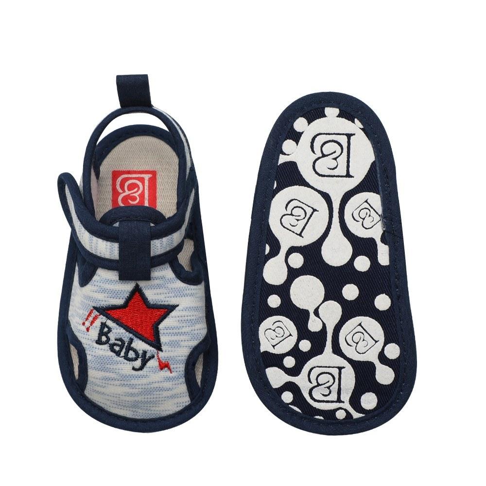 Infant Toddler Baby Shoes Boy Sandal Magic Tape Soft Sole Non-Slip Sneaker Prewalker For Summer Blue Size 4