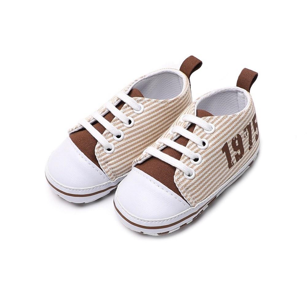 Infant Toddler Baby Casual Shoes Cotton Stripe Soft Sole Non-Slip Sneaker Prewalker Pink 4M