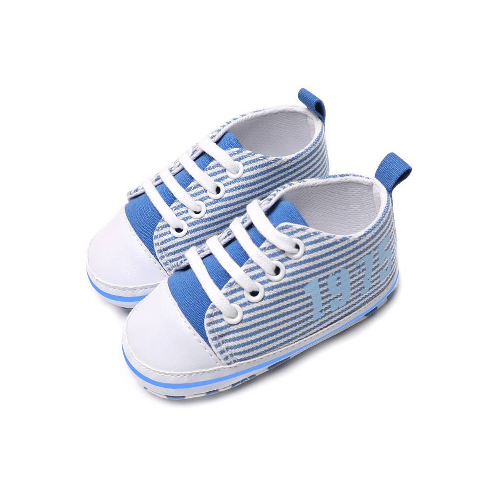 Infant Toddler Baby Casual Shoes Cotton Stripe Soft Sole Non-Slip Sneaker Prewalker Pink 4M
