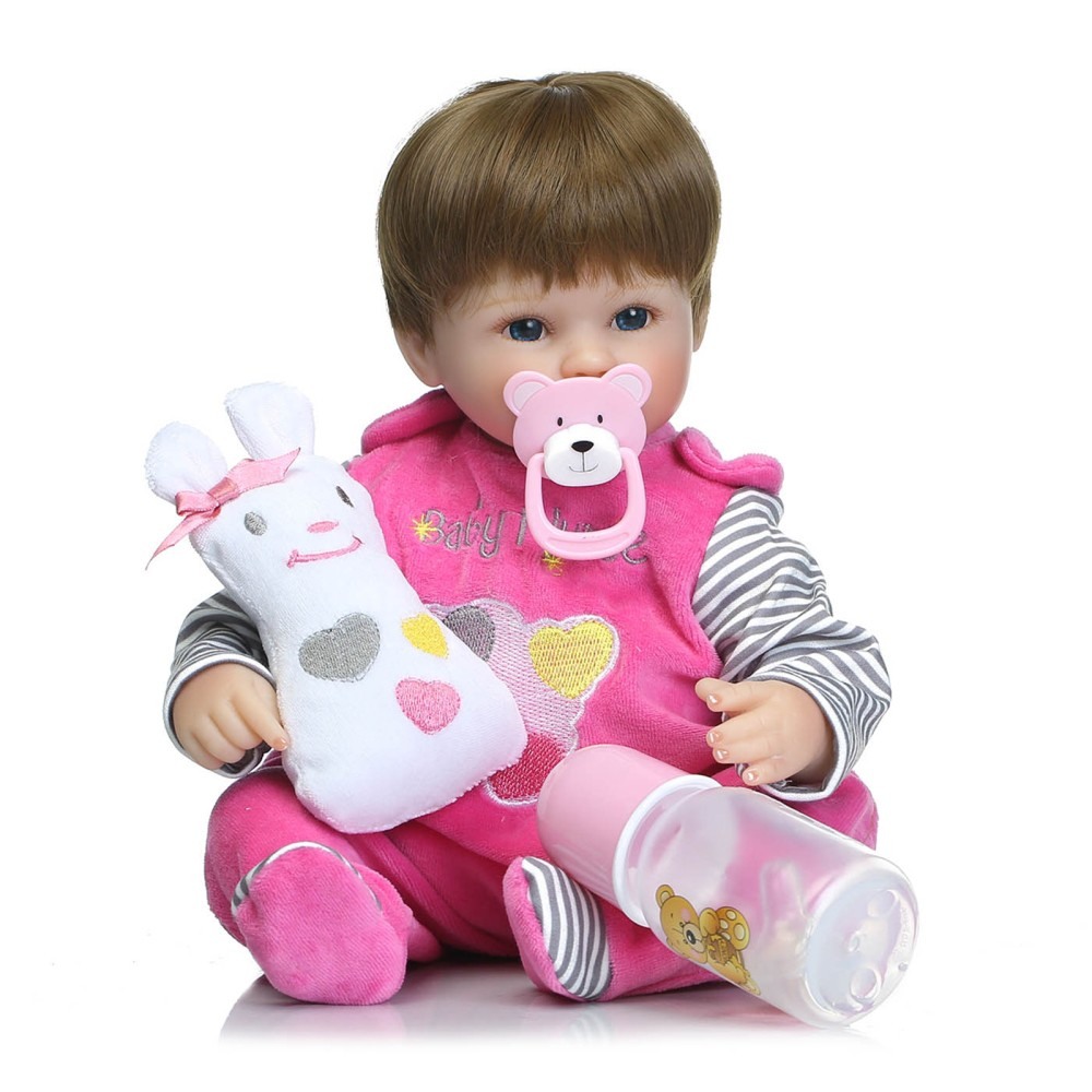 16inch 41cm Silicone PP Filling Reborn Toddler Baby Doll Girl Body Boneca With Clothes Blue Eyes Lifelike Cute Gifts Toy
