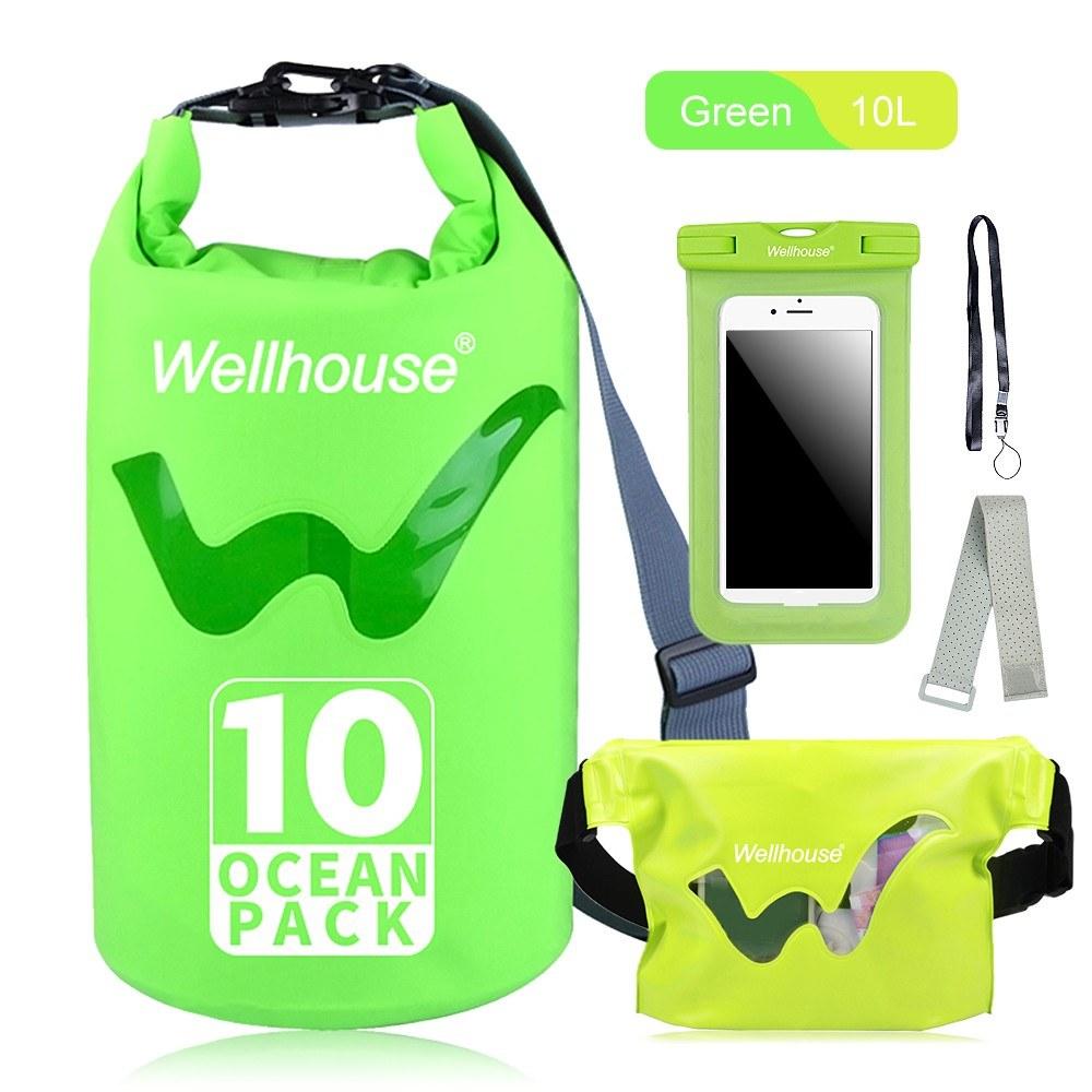 Set of 3 Waterproof Dry Bag Waist Pack and Phone Case Outdoor Travel Beach Storage Bags for Kayking Rafting Boating