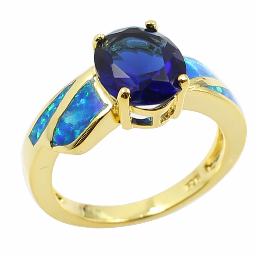 Fashion CZ Diamond Simulated Opal 925 Sterling Silver Ring Gold Plated Women Girl Wedding Engagement Jewelry Accessory