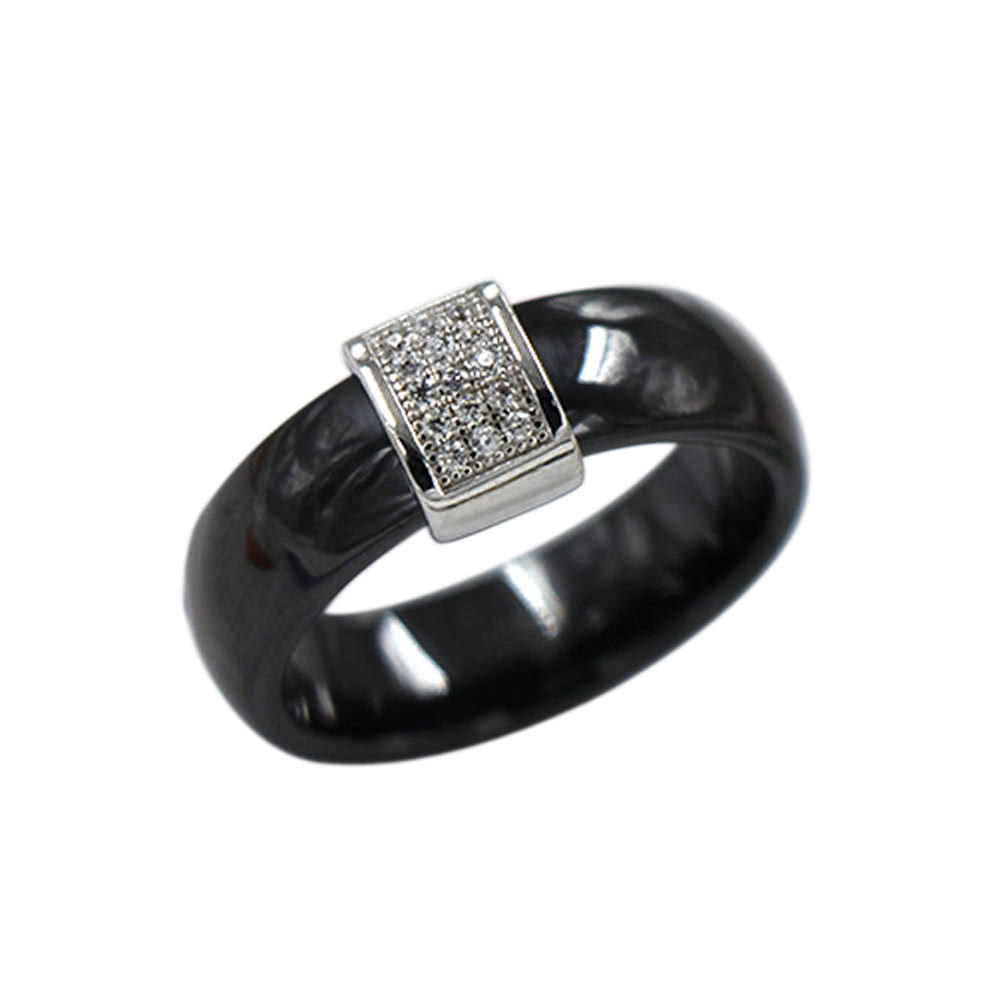 Nano Ceramic & S925 Sterling Silver Polished with CZ Diamond Embedded White Gold Electroplated Dome Ring