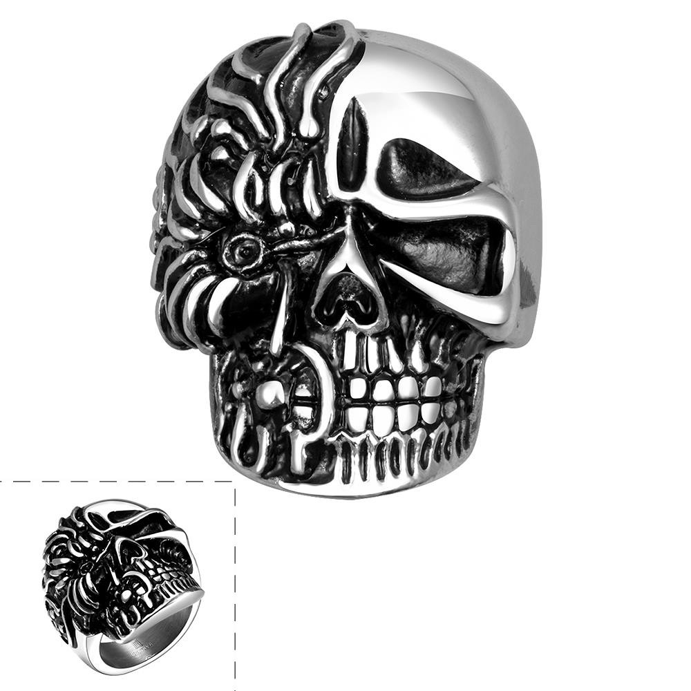 Polished 316L Stainless Steel Moter/Bikers Ring Skull Skeleton Antique Silver Wide Cast Gothic Punk Rock Style Men's Large Heavy Jewelry