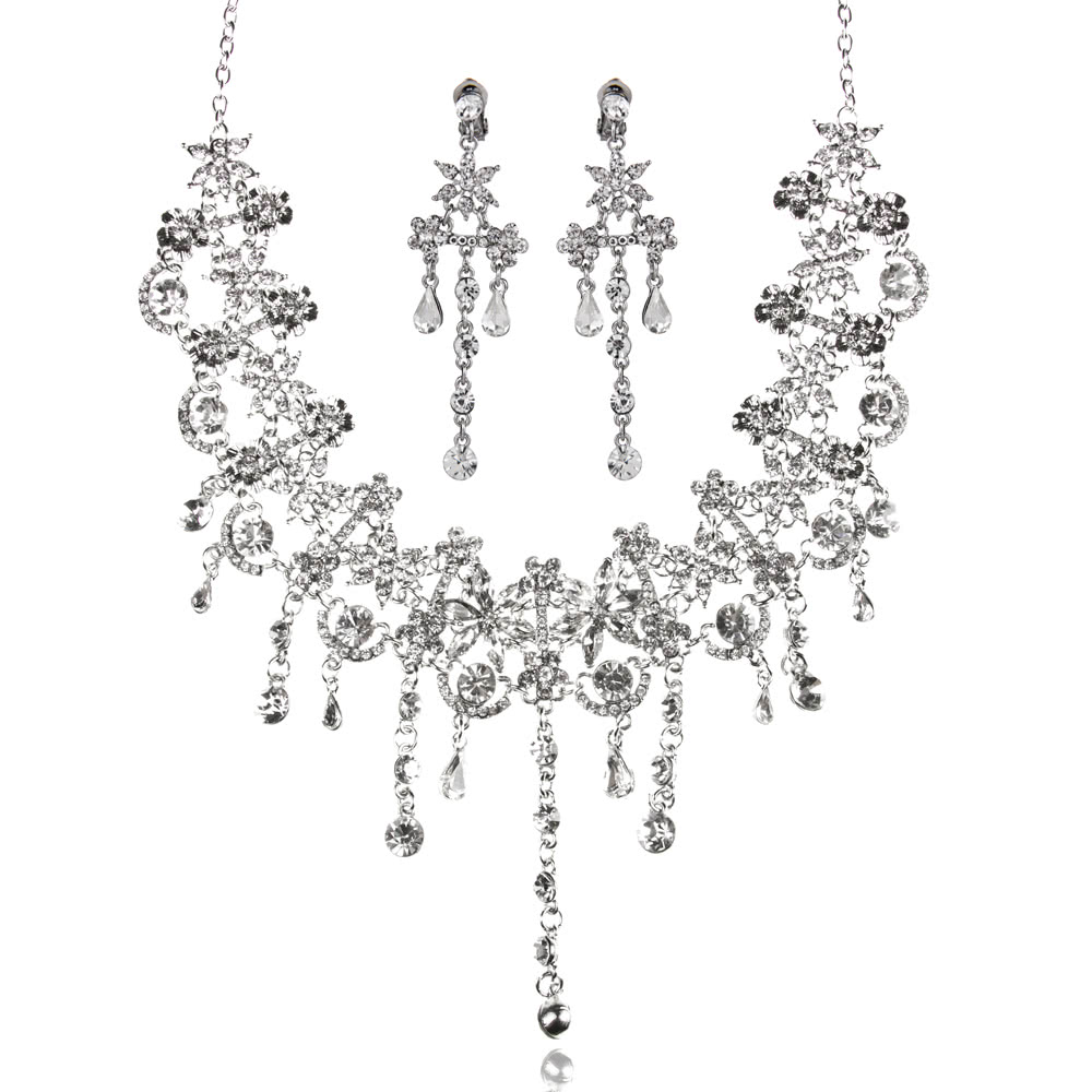 Dazzling Zinc Alloy Rhinestone Crystal Pendant Women's Necklace and Earrings Jewelry Set for Wedding Party