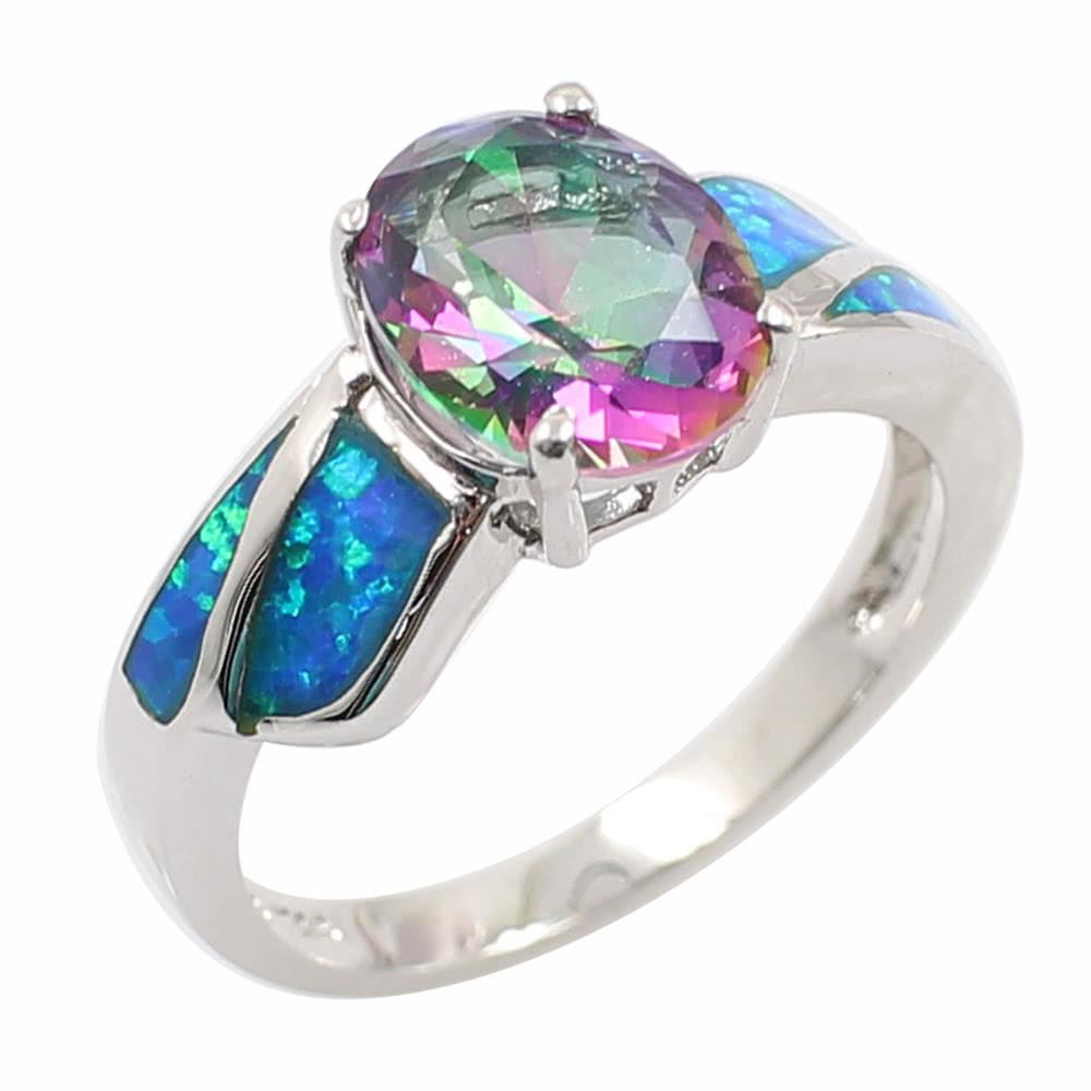 Fashion Shining CZ Diamond Simulated Opal 925 Sterling Silver Ring Women Girl Wedding Engagement Jewelry Accessory