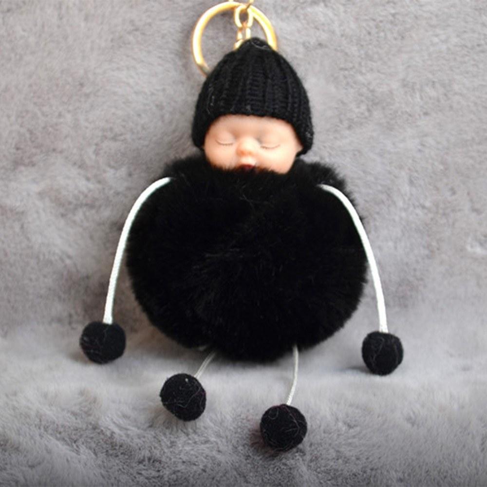 Cute Little Sleeping Baby Foot Doll Fake Fur Fluffy Ball Keychain Car Keyring Women Key Holder BagCharm Jewelry Color White