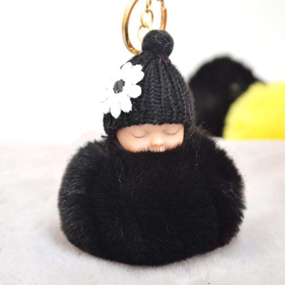 Cute Small Flower Sleeping Baby Doll Fake Fur Fluffy Ball Keychain Bag Key Rings Car Key Pendant Cartoon Ornaments Gifts Color White