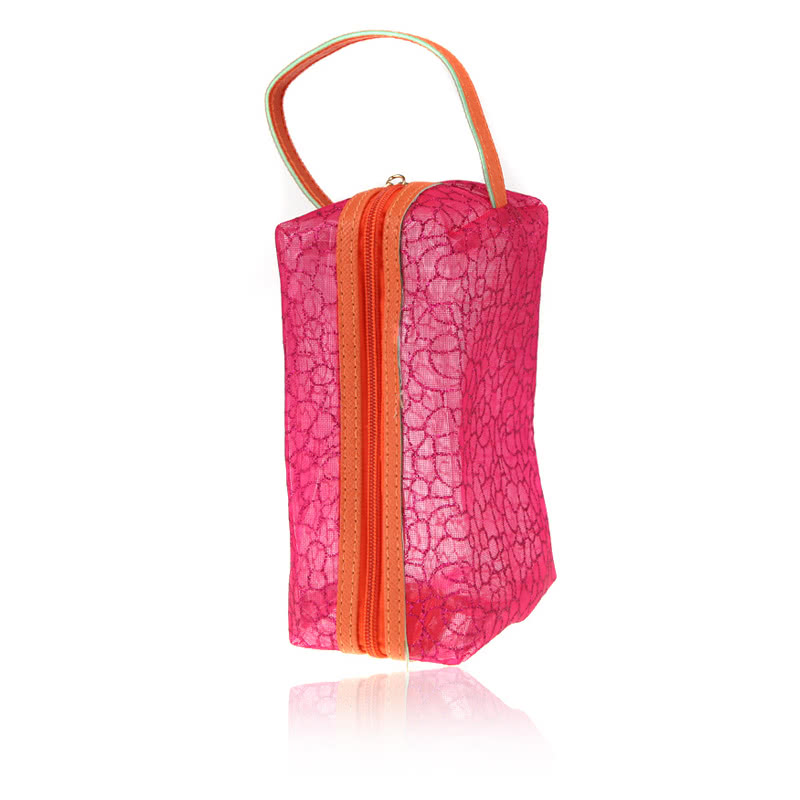 Cosmetic Hollow Make Up Container Pouch Handbag Translucent Sunbag Fluorescent Rose