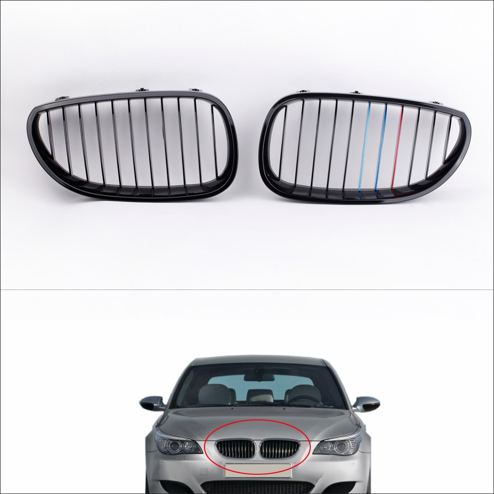 2Pcs Gloss Black M-color Front Kidney Grille for BMW E60 E61 5 Series Sedan 2004-2010