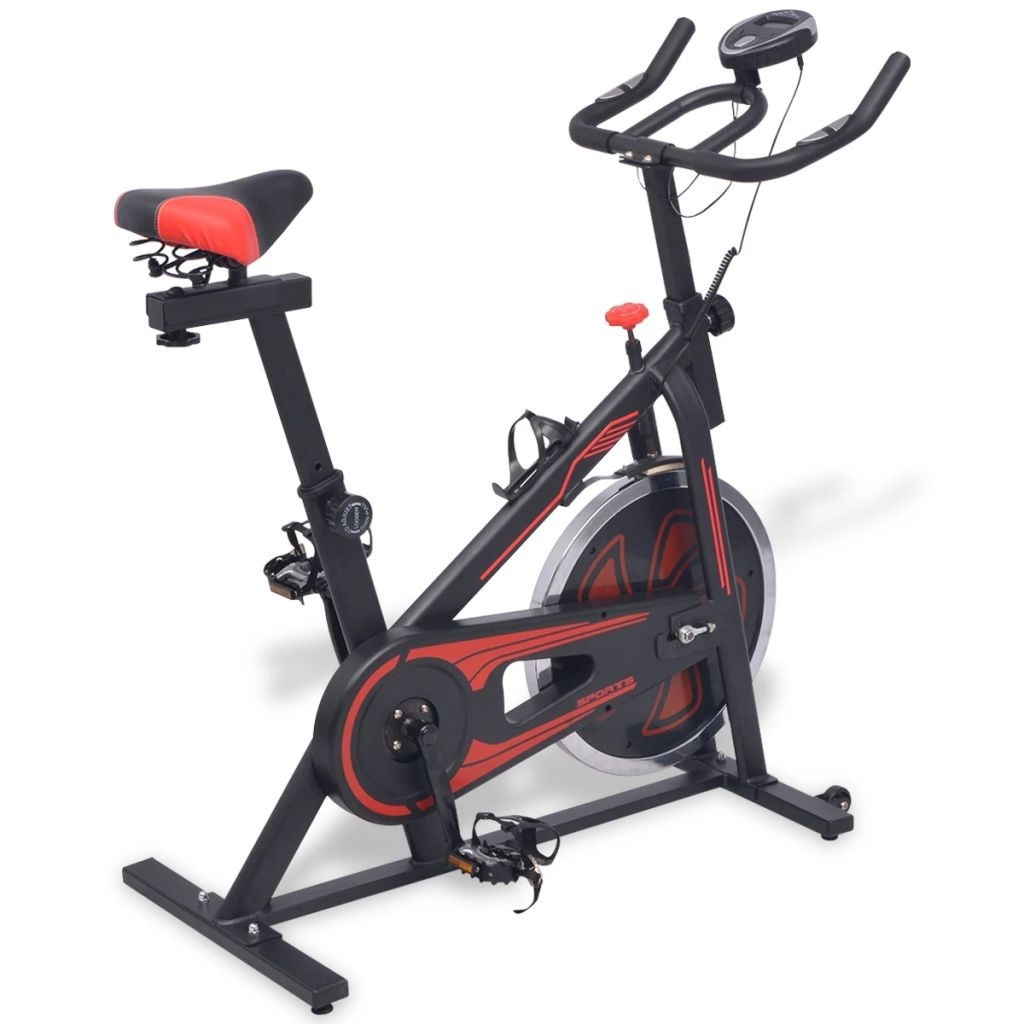 Home exercise bike with pulse sensors black and red
