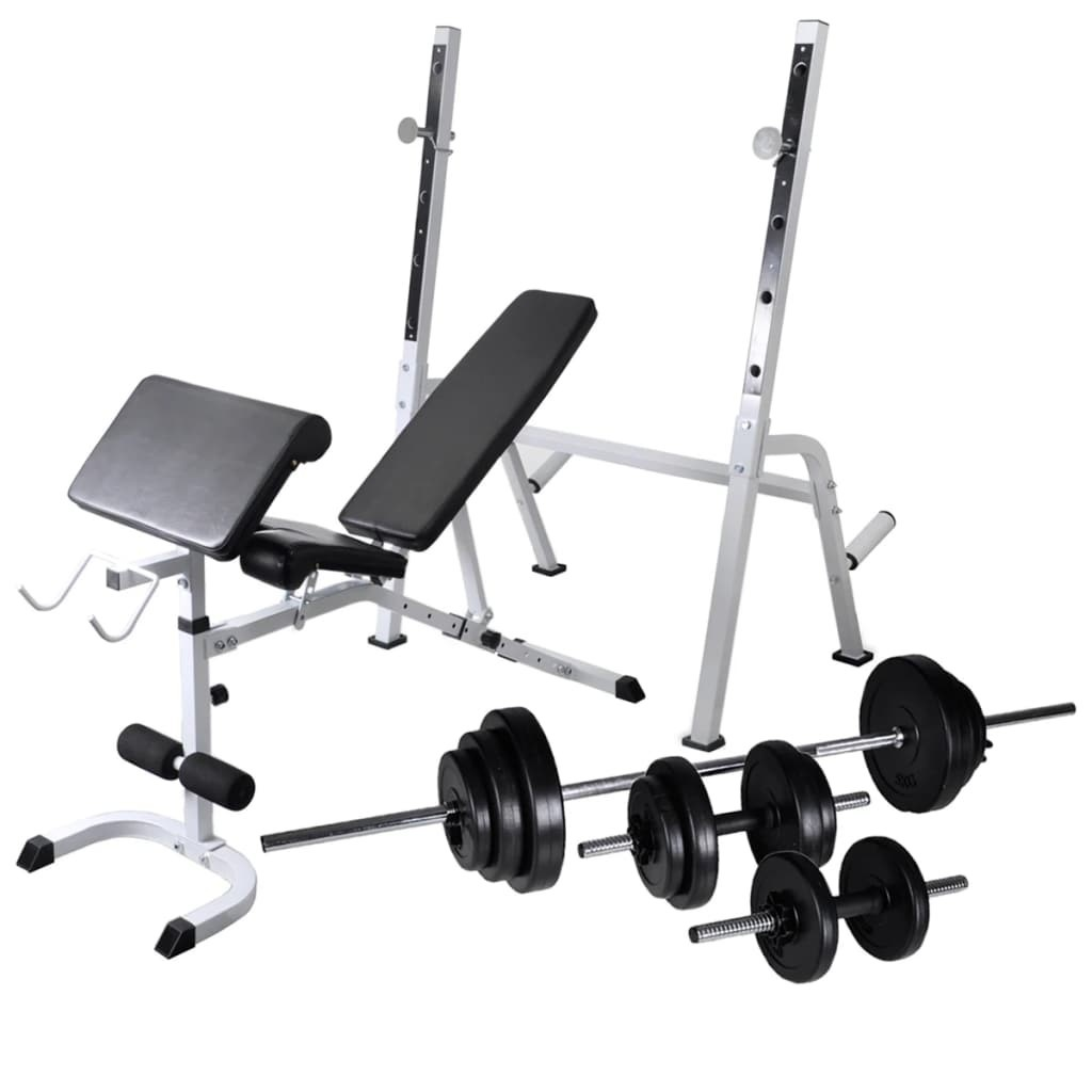 Workout Bench with Weight Rack, Barbell and Dumbbell Set 30.5kg