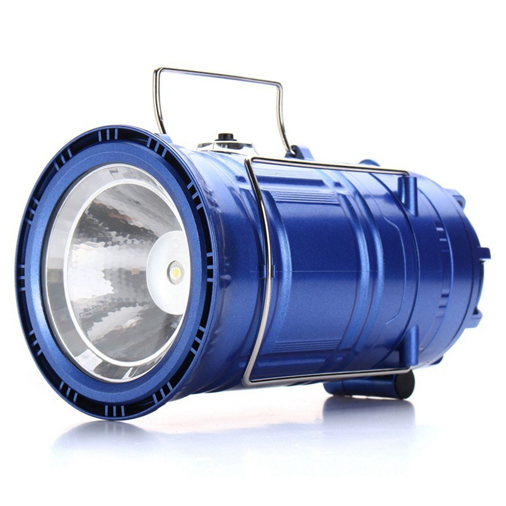 3 In 1 Multi-function Solar Rechargeable Fan LED Hiking Light Table Lamp Outdoor Collapsible Camping Flashlight Tent Hanging Lighting Lantern (Blue E U Plug)