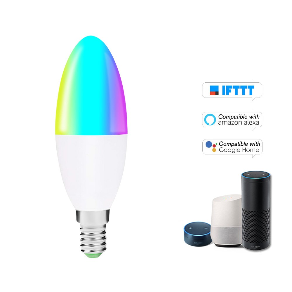V16-S Smart WIFI LED Bulb RGB+W LED Candle Bulb 6W E14 Dimmable Light Phone Remote Control Group Control Compatible with Alexa Google Home Tmall Genie Voice Control Light Bulb