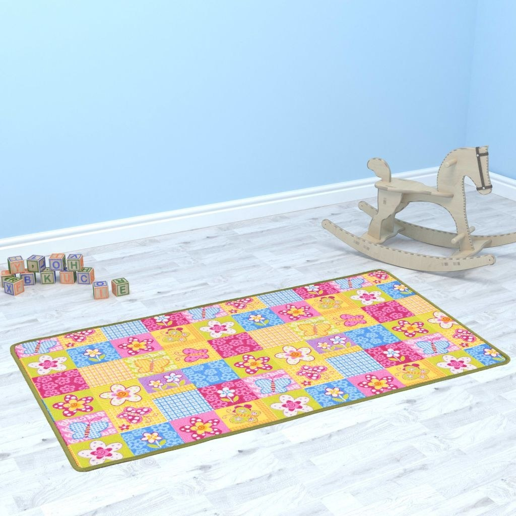 Playmat in Bouclé 67x120 cm with Butterfly Pattern