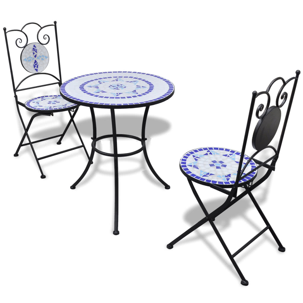 Mosaic Bistro Table 60 cm with 2 Chairs Blue / White