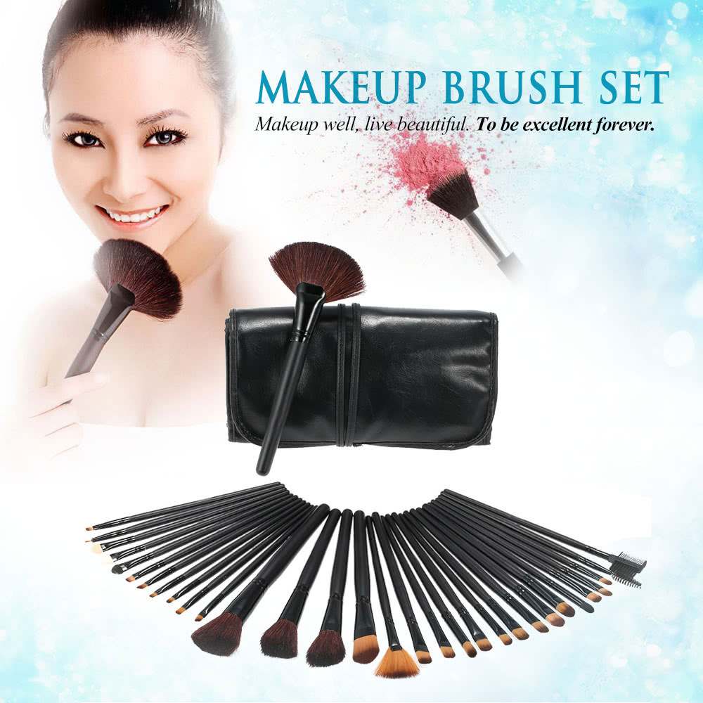 32Pcs Professional Makeup Brush Set Essential Cosmetic Make Up Brushes Kit Black Powder Brush Eyeshadow Eyeliner Eyebrow Brush + Leather Bag