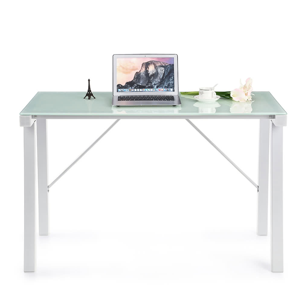 iKayaa Computer Desk PC Laptop Table Tempered Galss Top 120KG Load Capacity