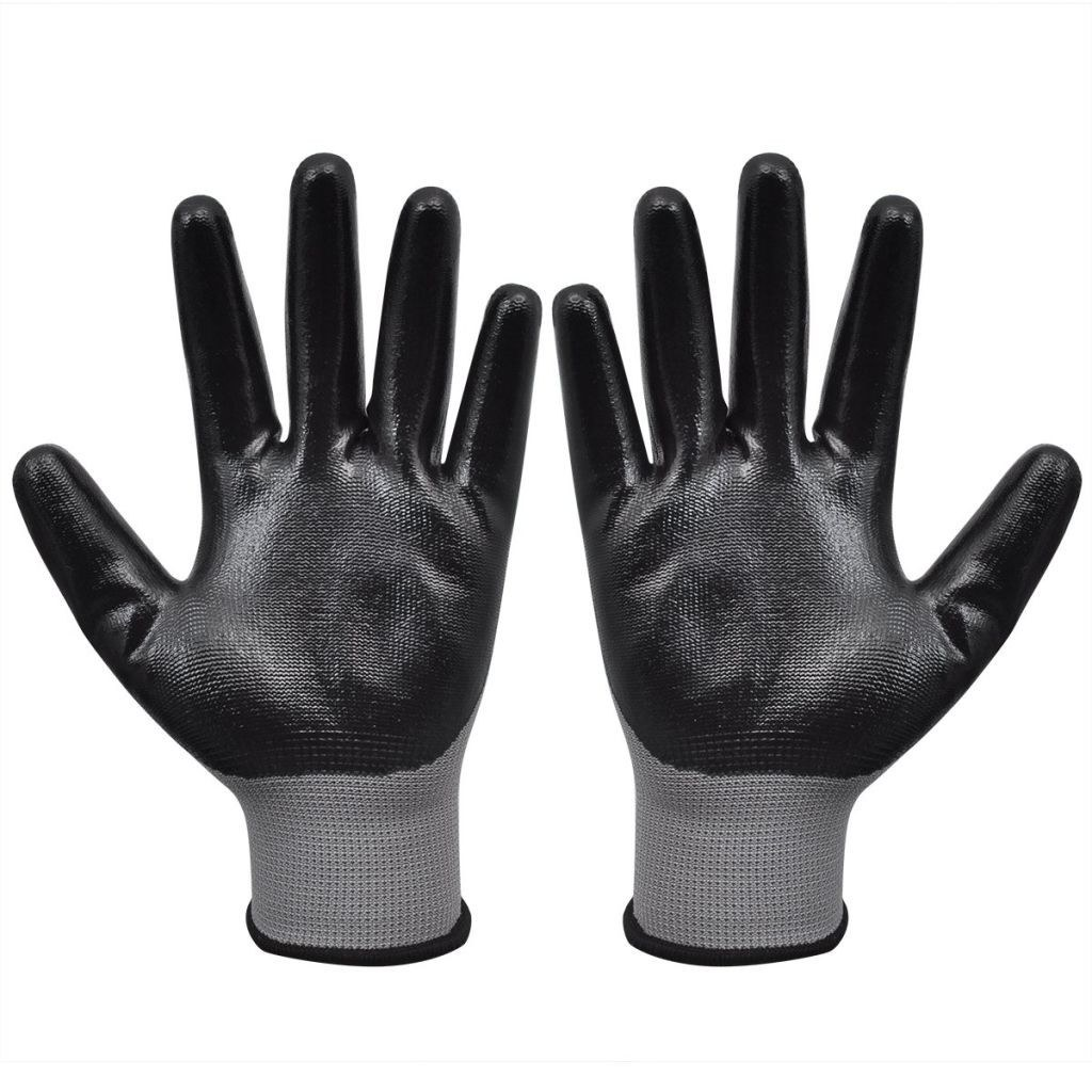 Work Gloves Nitrile 24 Pairs Gray and Black Size 9/L