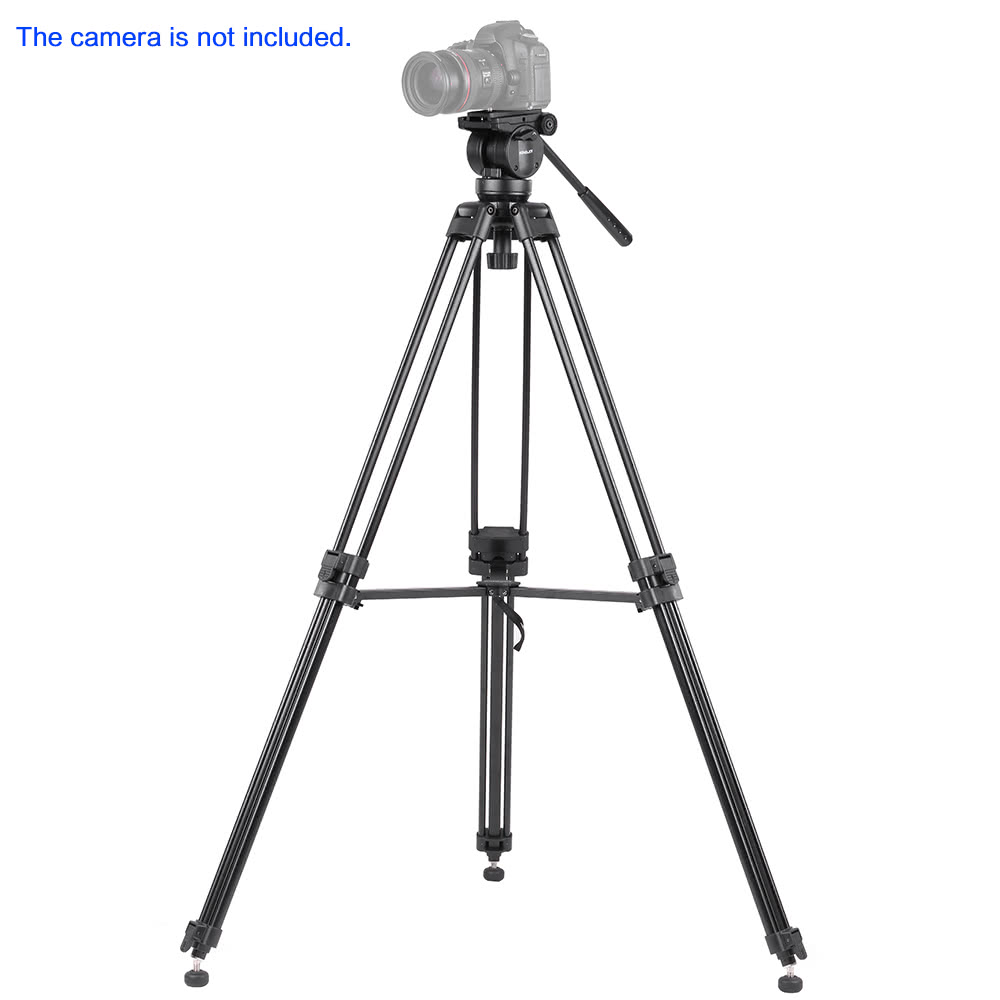KINGJOY VT-2500 Professional Mg-Al Alloy Video Photo Tripod Kit 360°Panorama Pan Fluid Ball Head for DSLR Camera Video Recorder DV Max Height 61 Inch Max Load 12KG