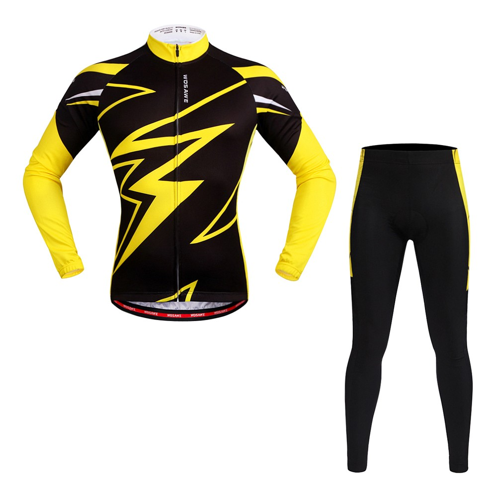 WOSAWE Long Sleeve Cycling Jersey Sets Breathable 4D Padded Pants Sportswear Mountain Bicycle Bike Apparel Cycling Clothing