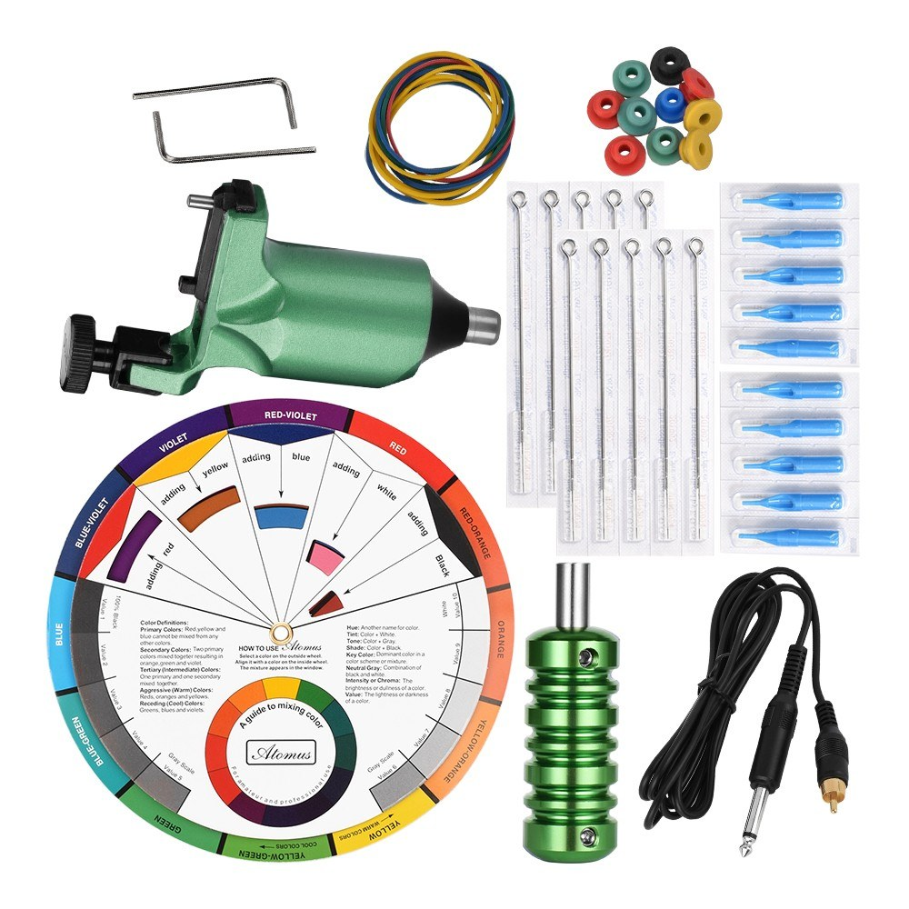 Tattoo Machine Tool Kit Grips Needles Rubber Band Needle Pads Hook Line Color Wheel Mixing Guide for Tattoo Practice Kit